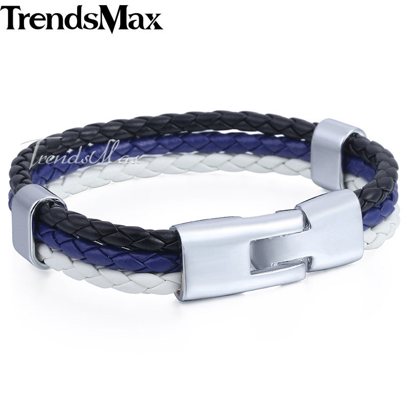 Trendsmax Blue Police Lives Matter Leather Bracelet