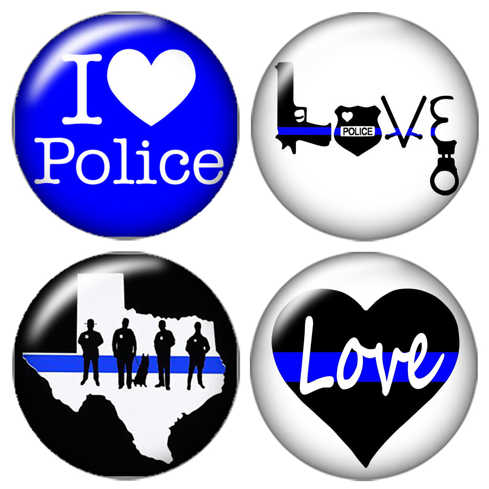 I love police 10pcs 12mm/18mm/20mm/25mm Round photo glass