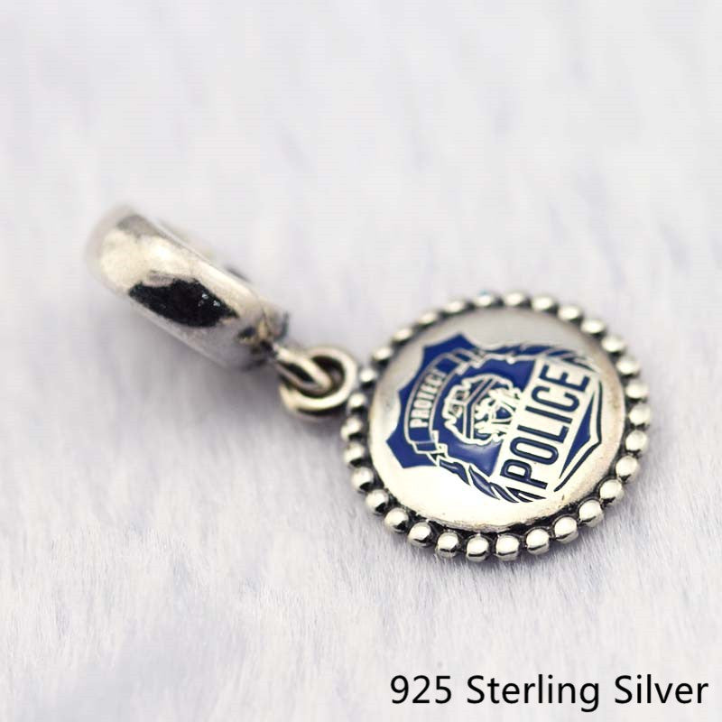 925 Sterling Silver Jewelry Police Dangle Charm,