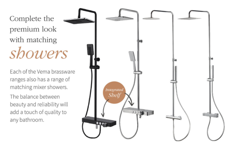 Vema bar showers from Mooods Bathrooms to Love