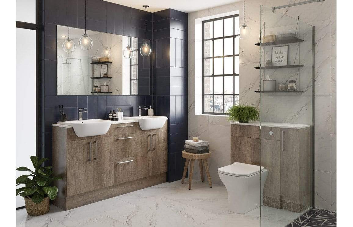 Bathrooms to Love Alba Grey Nebraska Oak 600x900mm Base End Panel DIFT1398