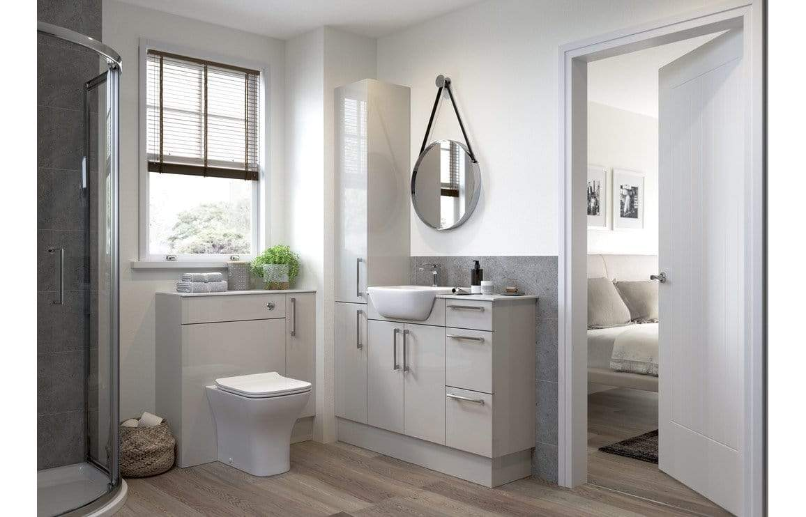 Bathrooms to Love Alba Light Grey Gloss  600x2200mm Tall End Panel DIFT1402