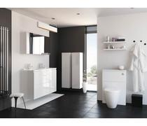 Bathrooms to Love Bello v2 500mm 2 Door Wall Hung Cloakroom Vanity Unit Inc. Basin - White Gloss Int. Handle DIFTP1820