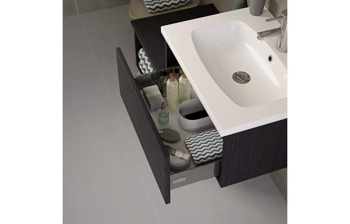 Bathrooms to Love Carino 600mm 1 Drawer Wall Mounted Unit & Basin - Graphitewood DIFTP1662