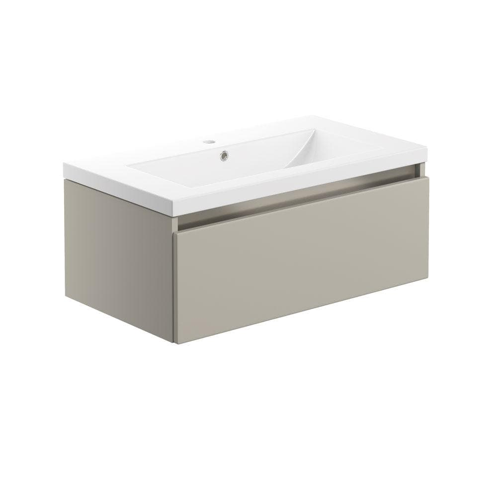 Bathrooms to Love Carino Latte 800mm 1 Drawer Wall Hung Vanity & Basin DIFTP1980