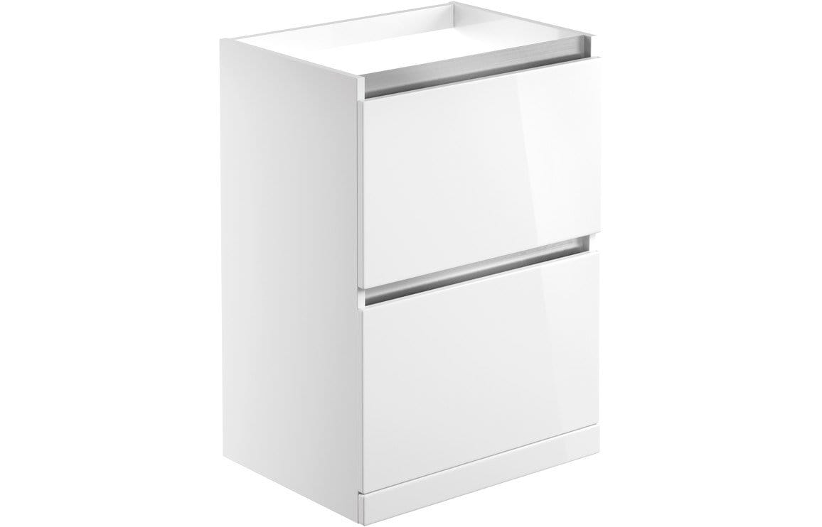 Bathroom Deals UK Carino White Gloss 600mm 2 Drawer Floor Standing Basin Unit (No Top) DIFM0484