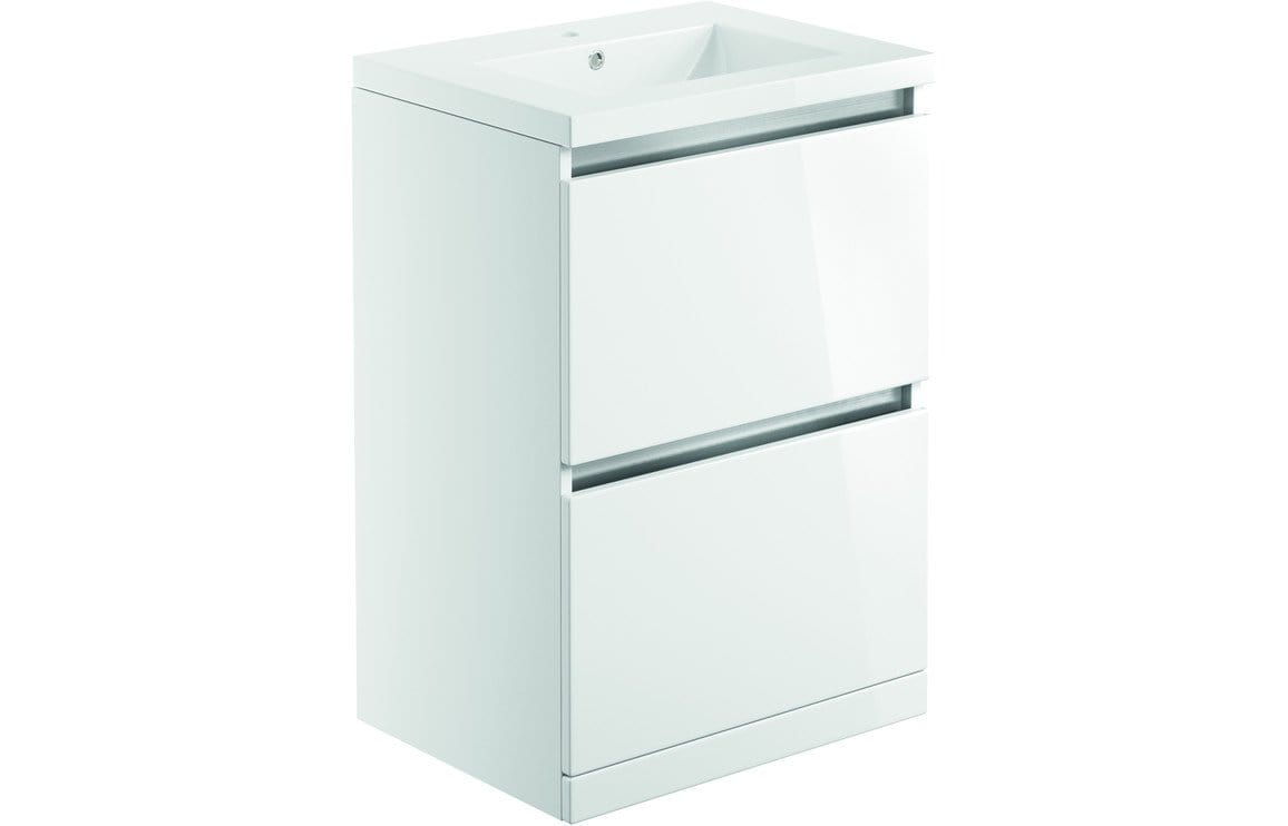 Bathrooms to Love Carino White Gloss 600mm 2 Drawer Floor Standing Vanity Unit & Basin DIFTP1988
