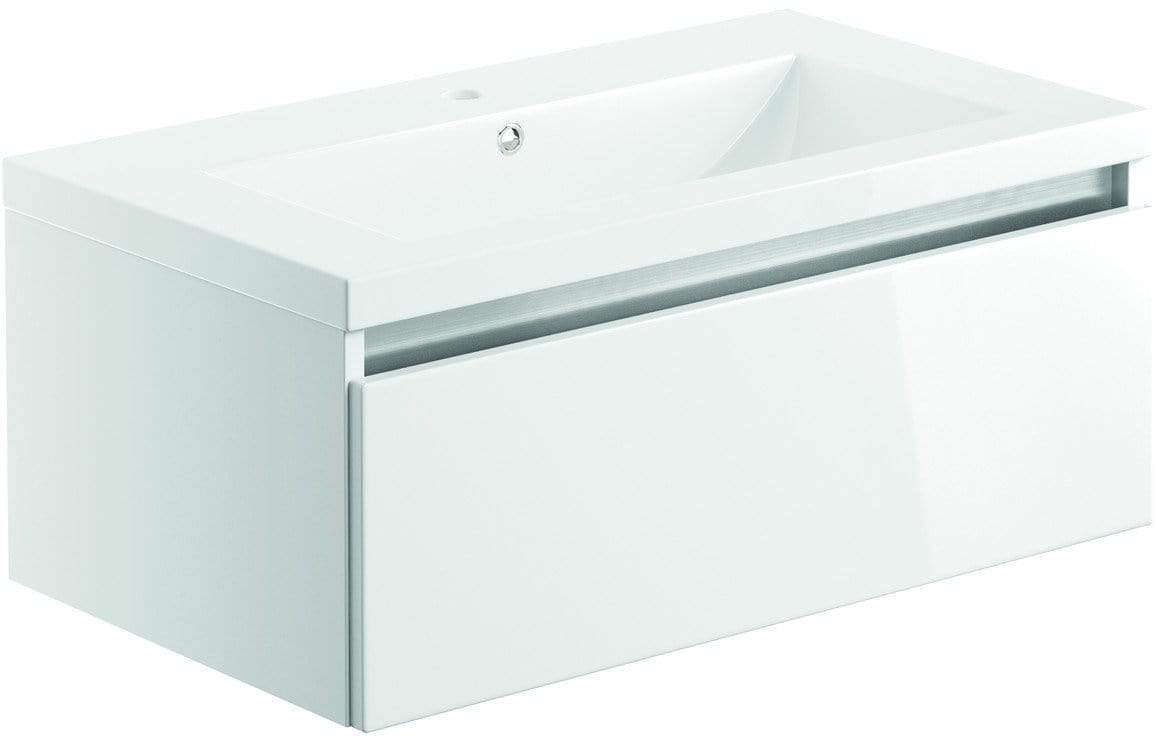 Bathrooms to Love Carino White Gloss 800mm 1 Drawer Wall Hung Vanity Unit & Basin DIFTP1976