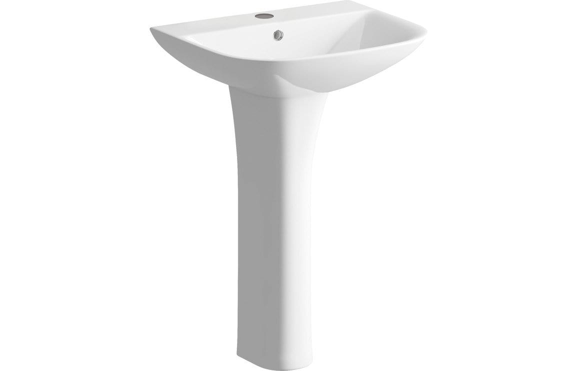 Bathrooms to Love Cedarwood 560x450mm 1TH Basin & Full Pedestal (Boxed) DIPBP1136