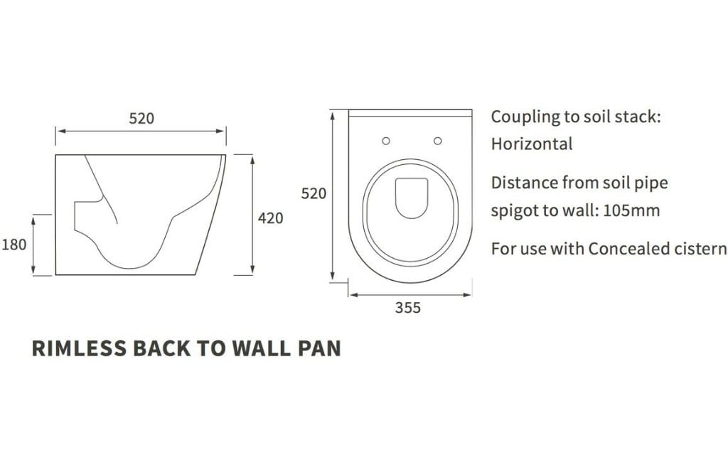 Bathrooms to Love Cilantro Rimless Back to Wall WC DIPTP0156