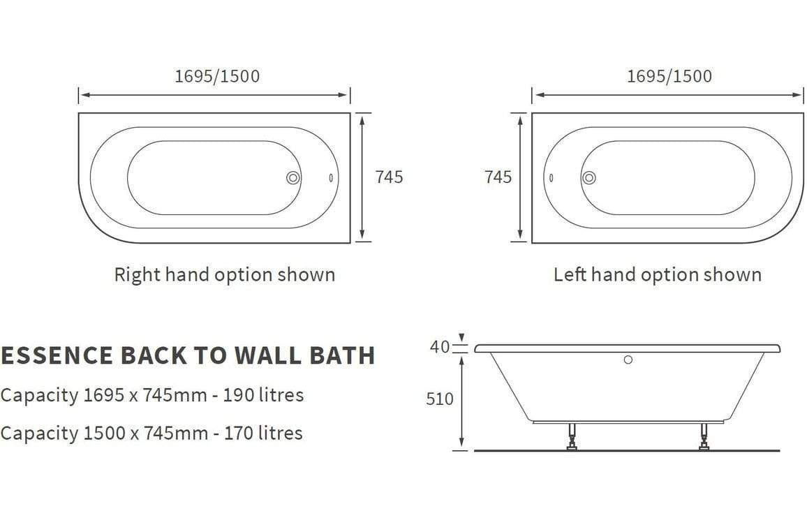 Bathrooms to Love Essence Back to Wall Bath 1500x745mm Right Hand Option DIBR0100