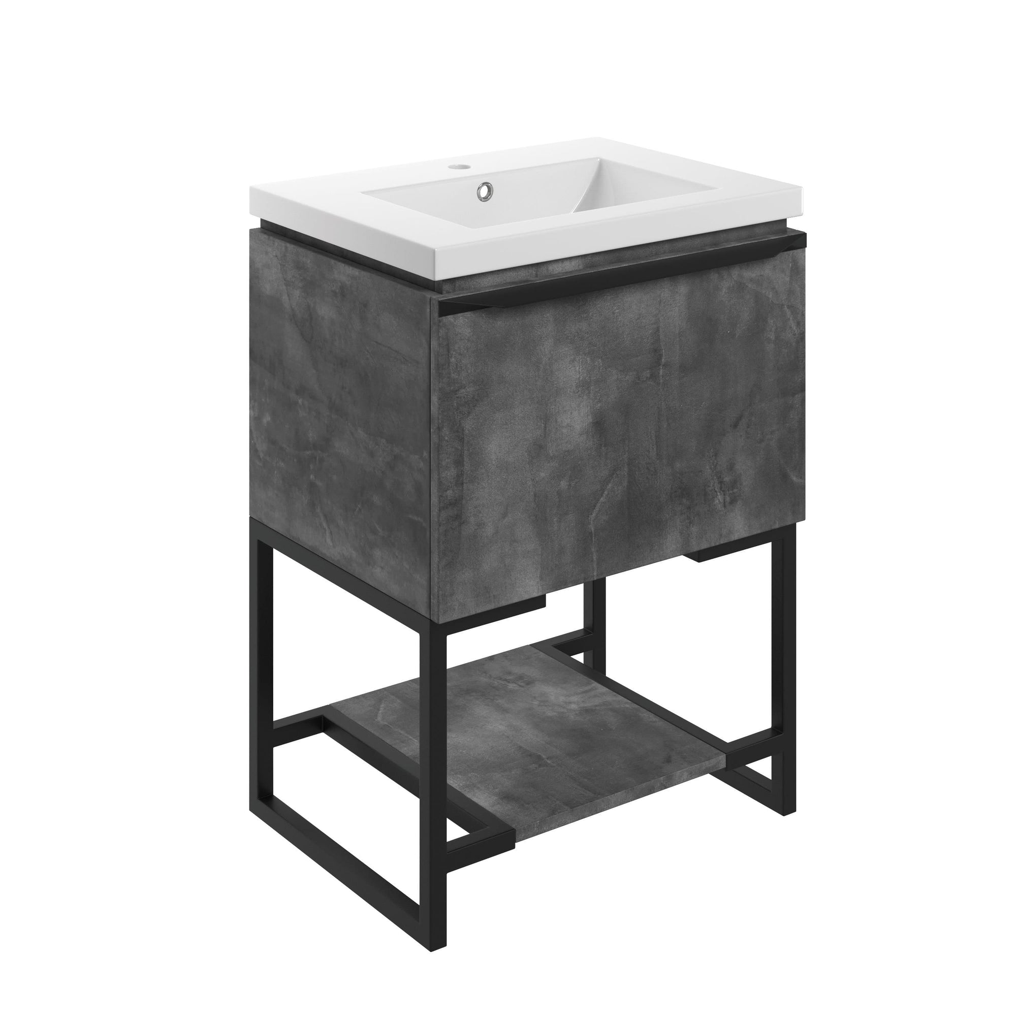 Bathrooms to Love Framework Grey Metal 600mm Floor Standing Unit & Basin DIFTP2032