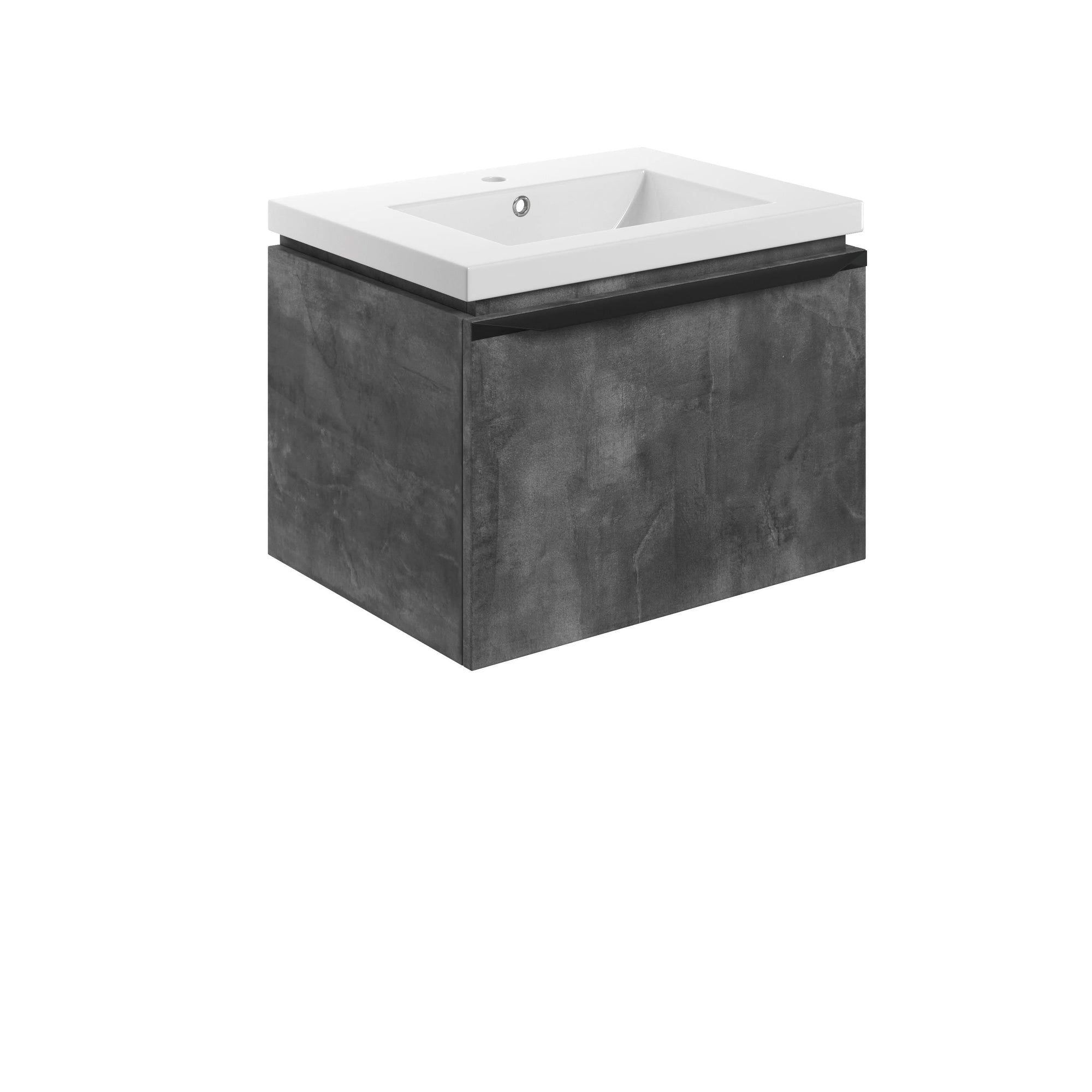 Bathrooms to Love Framework Grey Metal 600mm Wall Hung Vanity Unit & Basin DIFTP2022