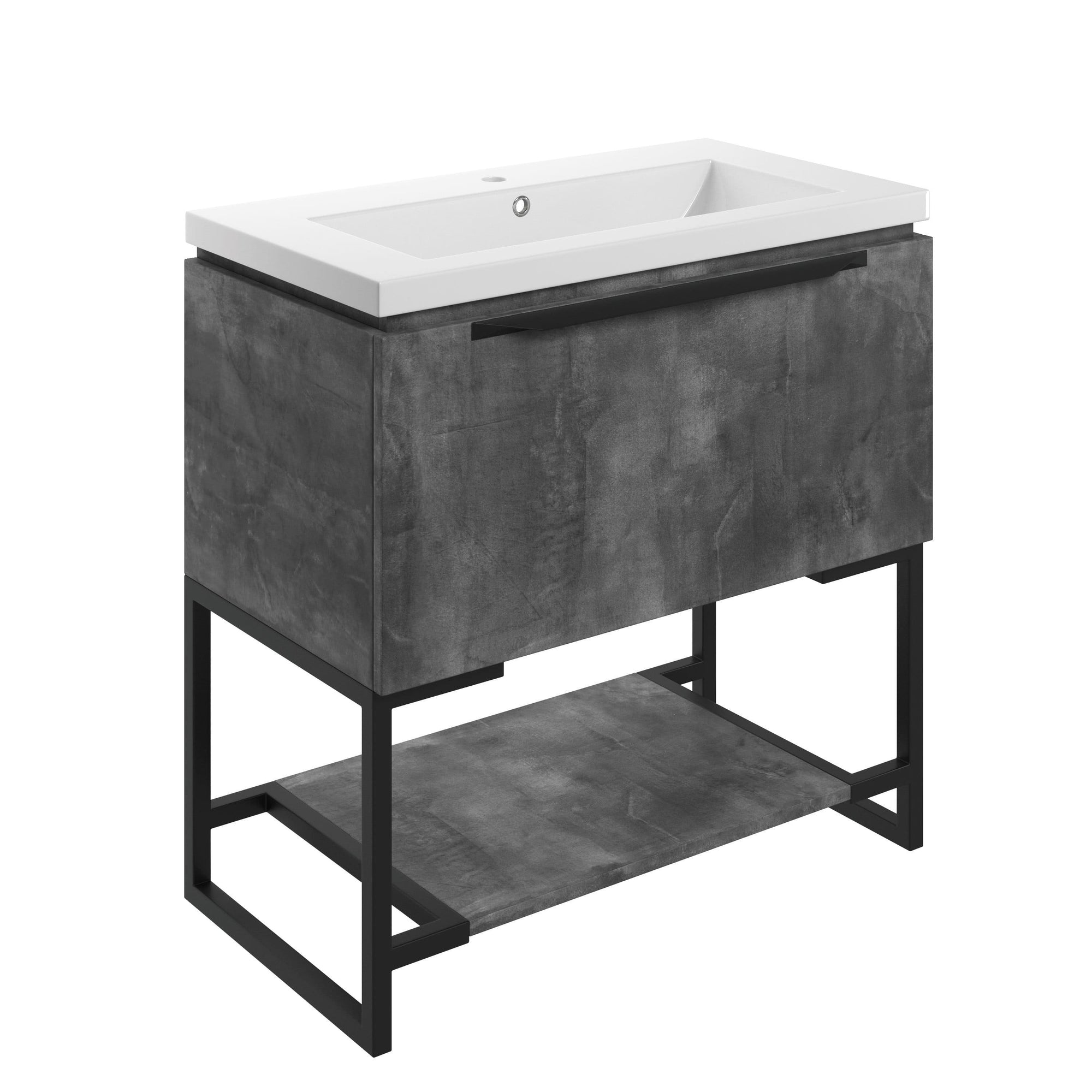 Bathrooms to Love Framework Grey Metal 800mm Floor Standing Vanity Unit & Basin DIFTP2036