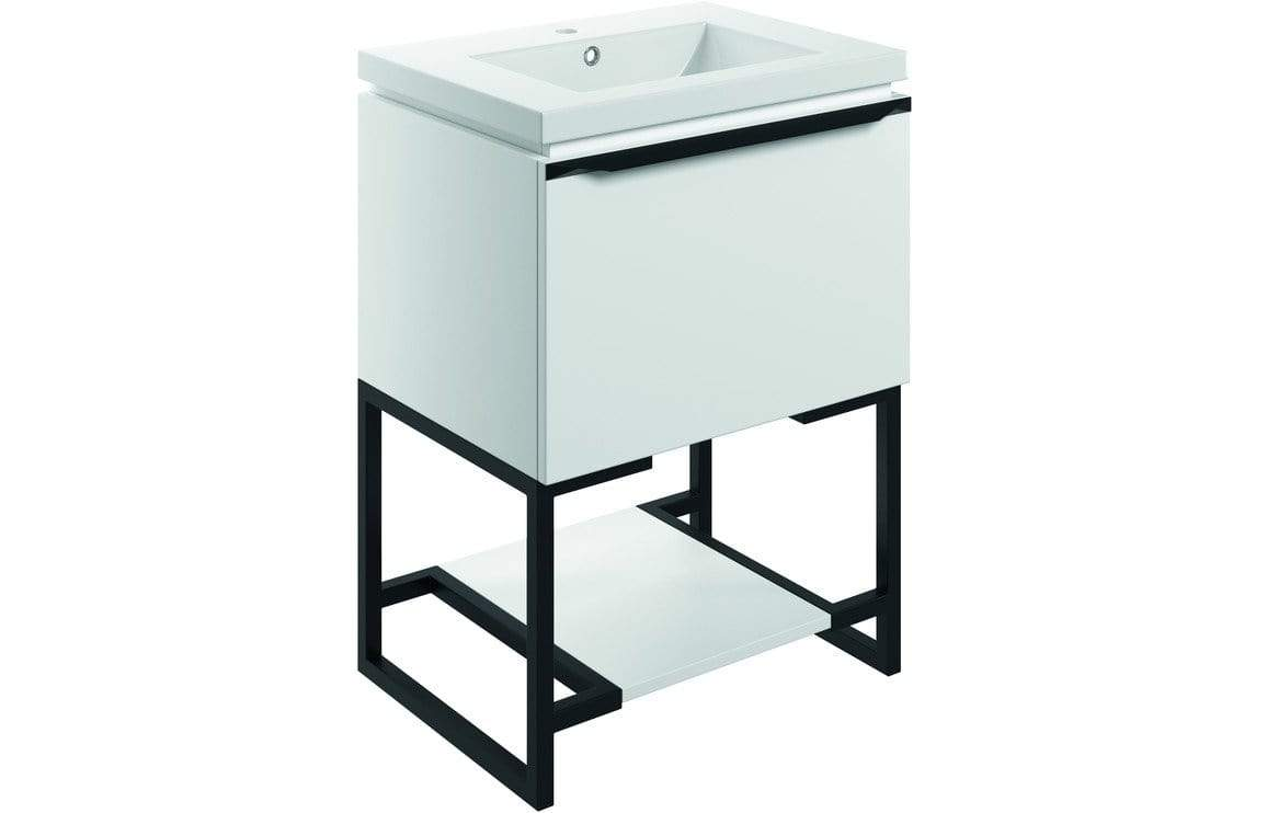 Bathrooms to Love Framework Matt White 600mm Floor Standing Vanity Unit & Basin DIFTP2034