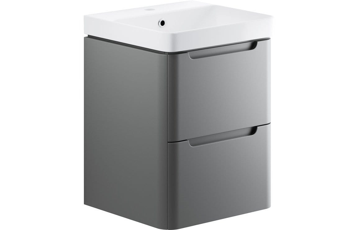Bathrooms to Love Lambra Matt Grey 500mm 2 Drawer Wall Hung Cloakroom Vanity Unit DIFTP1784