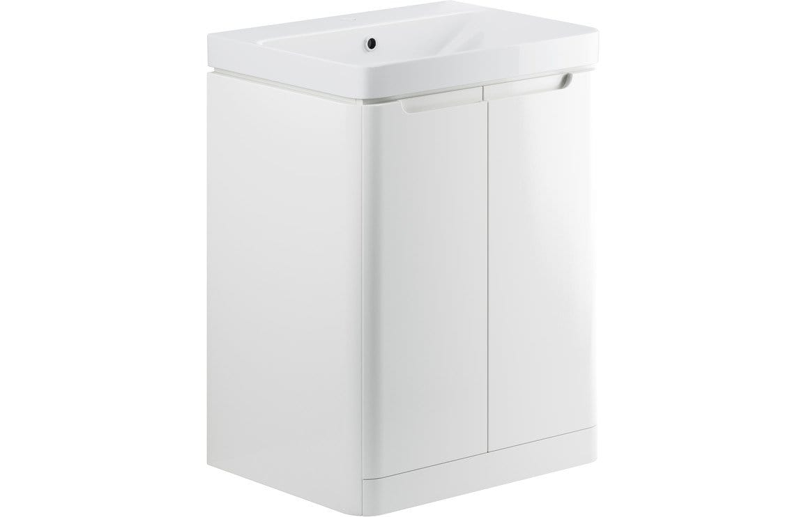 Bathrooms to Love Lambra White Gloss 600mm 2 Door Floor Standing Vanity Unit DIFTP1800