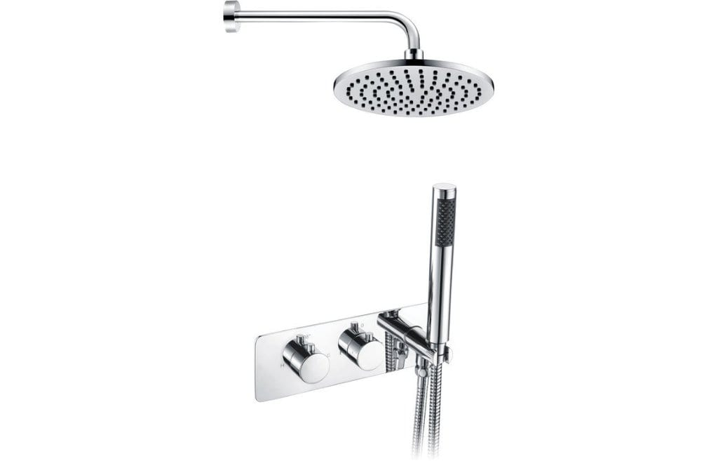 Bathrooms to Love Lexi Twin Two Outlet with Handset and Brass Overhead Shower DICMP0032