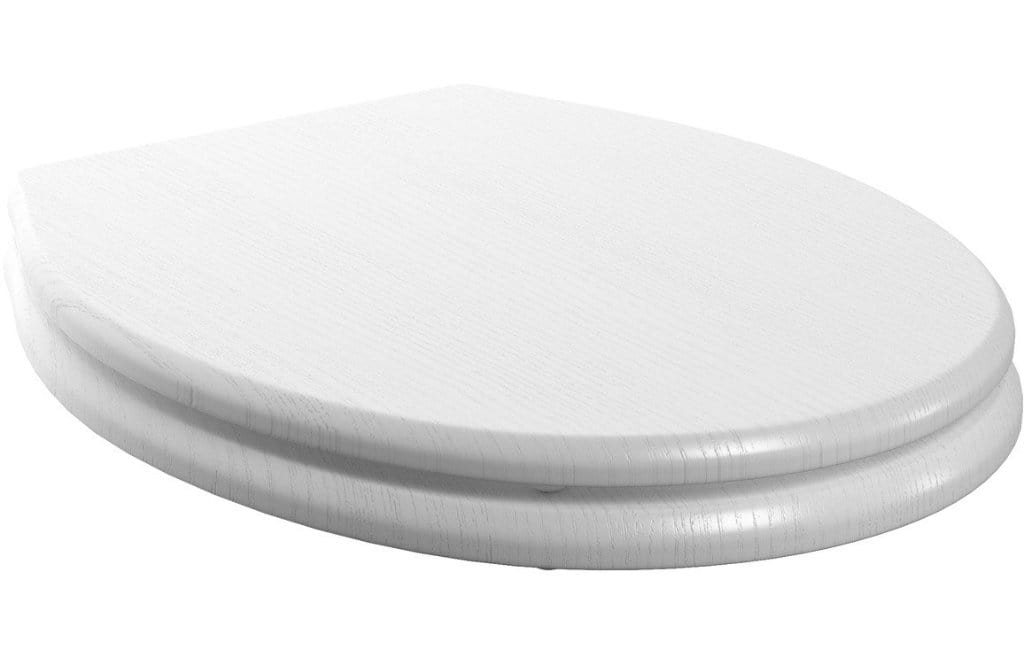 Bathrooms to Love Lucia Satin White Soft Close Wood Effect Toilet Seat DIFT1268