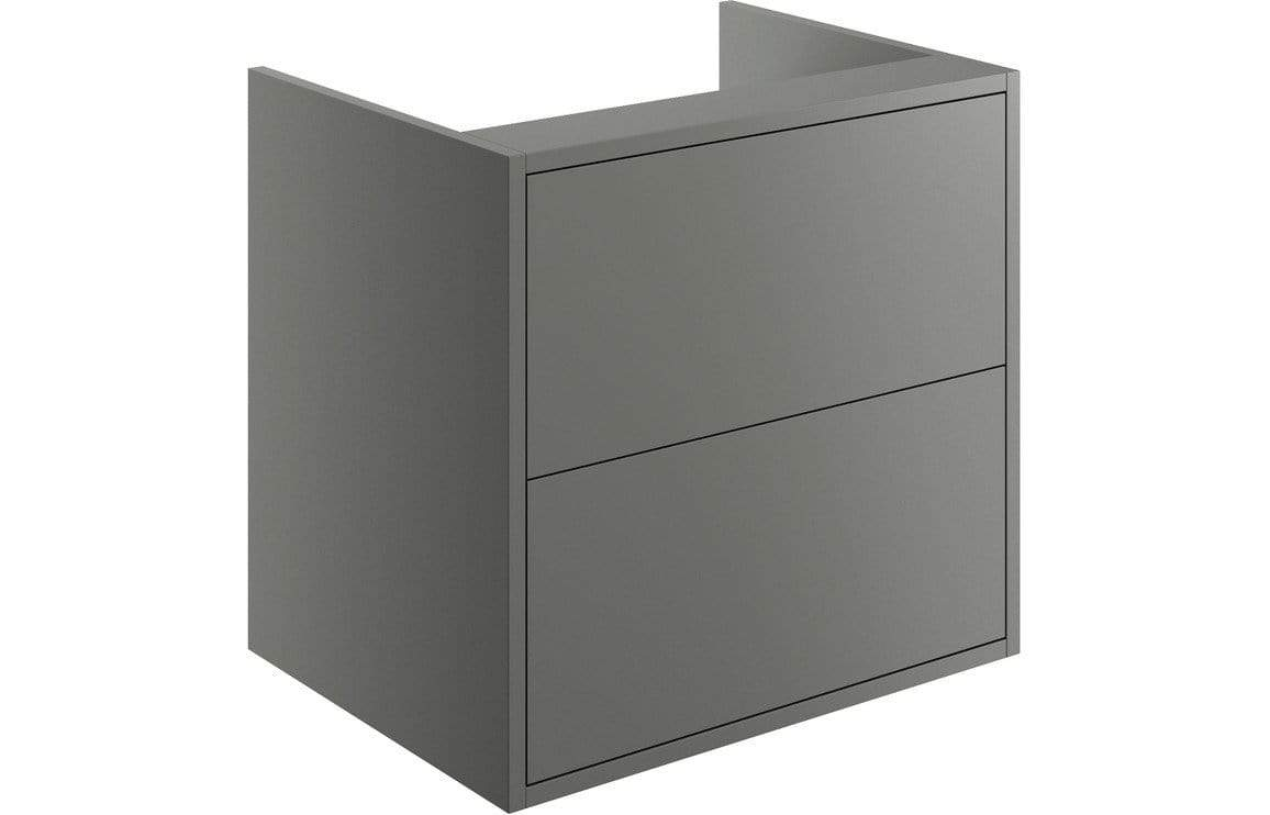 Bathrooms to Love Perla Matt Grey 600mm 2 Drawer Wall Hung Vanity Unit (No Top) DIFT1218