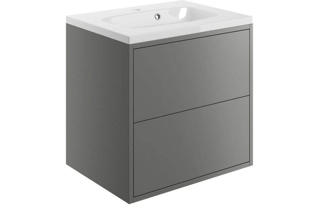 Bathrooms to Love Perla  Matt Grey 600mm 2 Drawer Wall Mounted Vanity Unit Inc with Basin DIFTP1494
