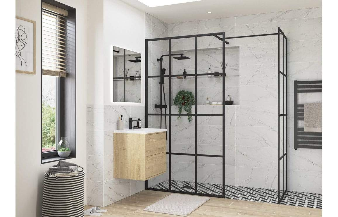 Bathrooms to Love RefleXion Iconix Black Framed Wetroom Panel