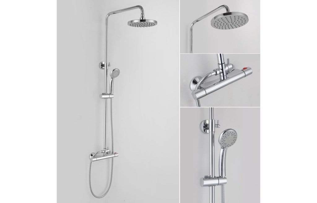 Bathrooms to Love Rondi Thermostatic Bar Mixer with Round Handset and Overhead DICM0276