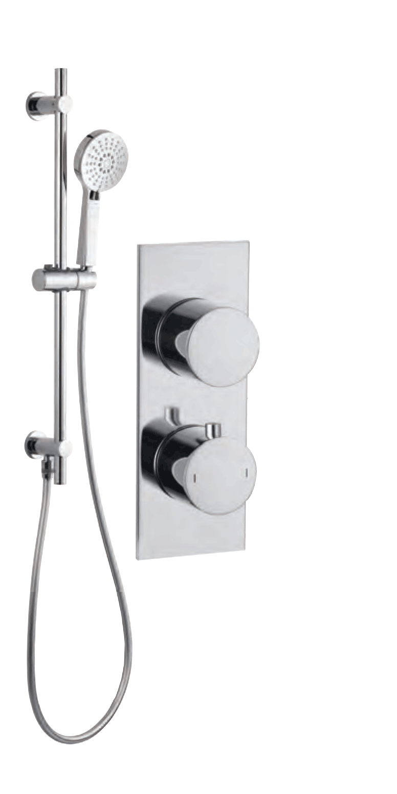 Bathrooms to Love Round Shower Pack 8 - Sphere Slim Plate Single Outlet & Riser Kit DICMP0068