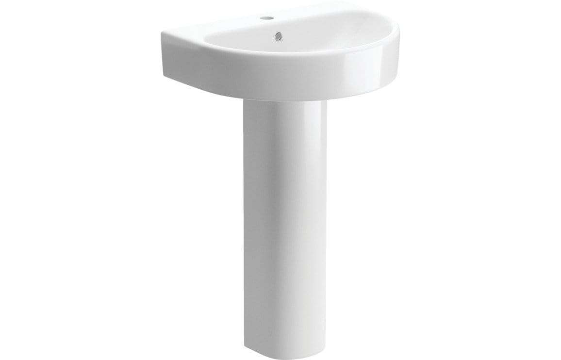 Bathrooms to Love Senna 555x460mm 1TH Basin & Full Pedestal DIPBP1156