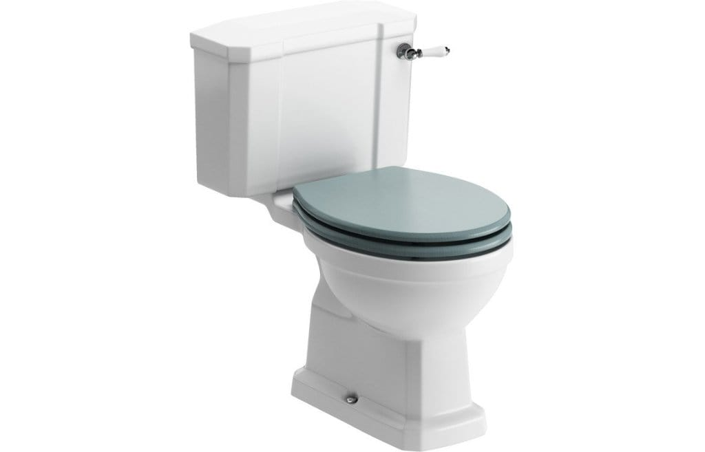 Bathrooms to Love Sherbourne Close Coupled Toilet with Lucia Sea Green Wood Effect Seat DIPTP0188