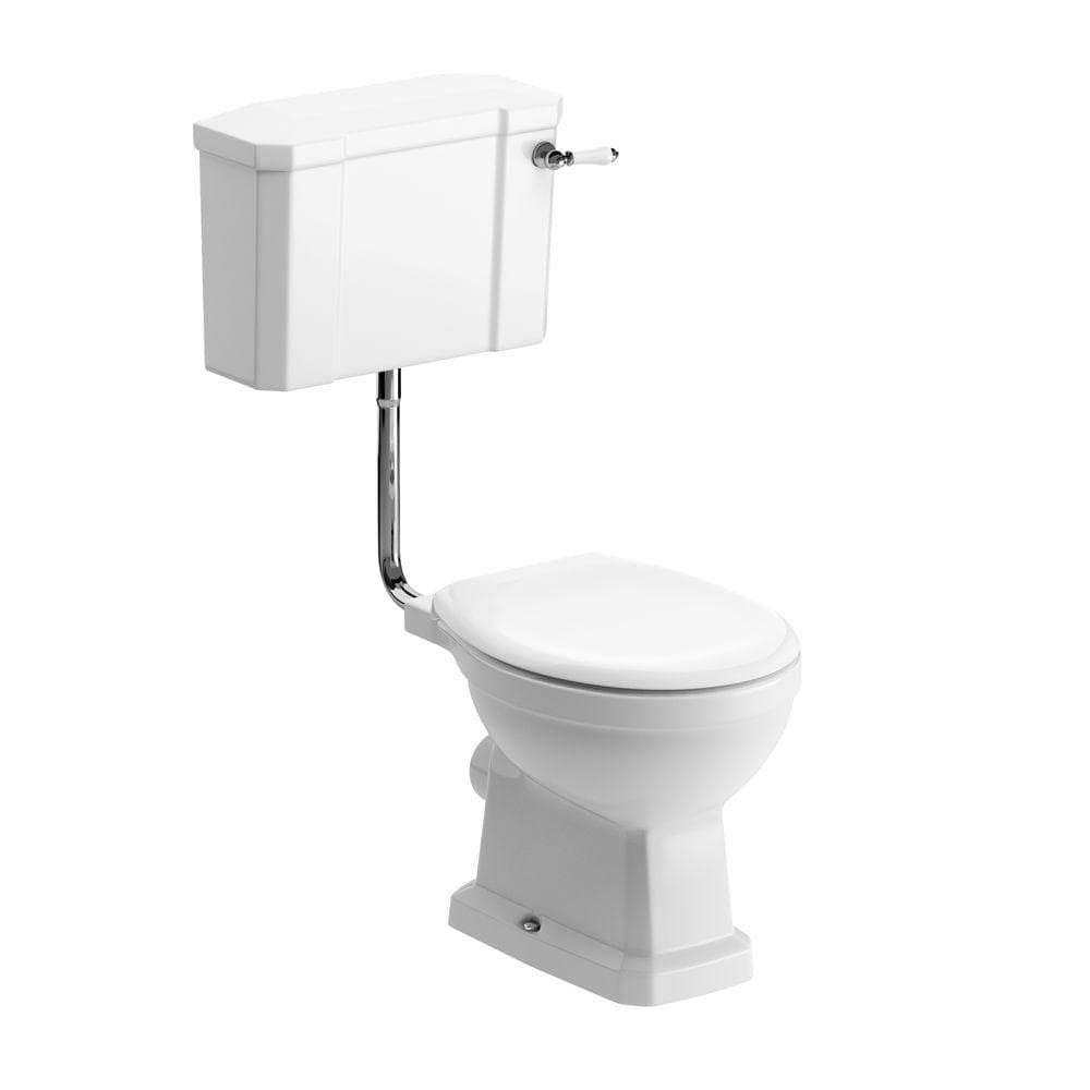 Bathrooms to Love Sherbourne Low Level Toilet with Lucia Satin White Wood Effect Seat DIPTP0202