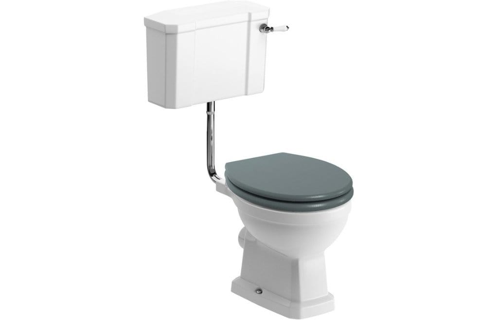 Bathrooms to Love Sherbourne Low Level Toilet with Lucia Sea Green Wood Effect Seat DIPTP0204