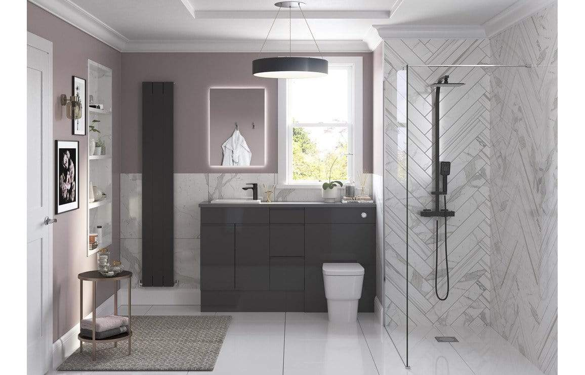 Bathrooms to Love Valesso 600x2200mm Tall End Panel - Onyx Grey Gloss DIFT1562
