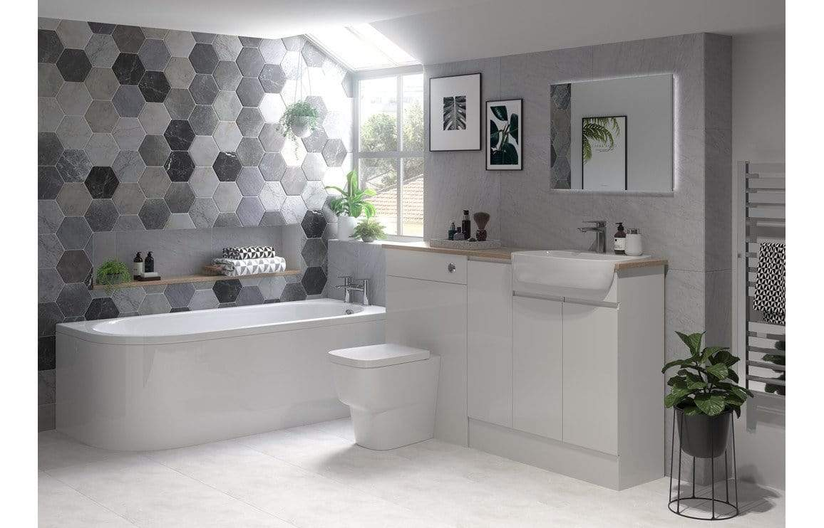 Bathrooms to Love Valesso 600x2200mm Tall End Panel - Pearl Grey Gloss DIFT1564