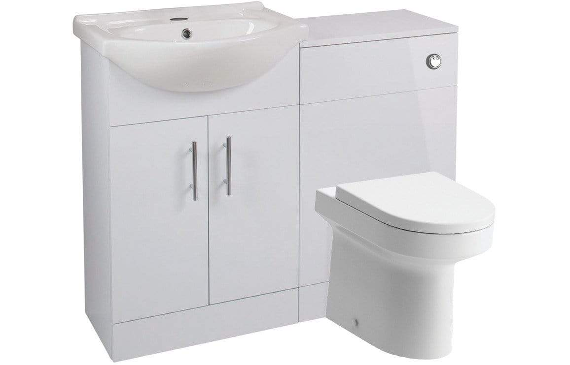 Bathrooms to Love Vista 550 mm Basin Unit & WC Unit Pack - White Gloss DIFTP2074