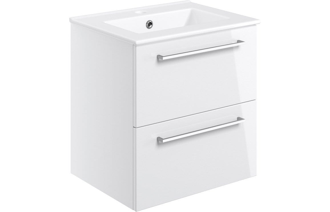 Bathrooms to Love Volta 510mm Wall Hung 2 Drawer Basin Unit w/Basin - White Gloss DIFTP2116