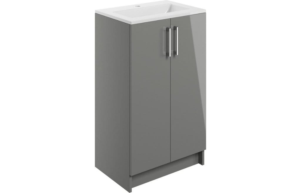 Bathrooms to Love Volta Grey Gloss 500mm 2 Door Floor Standing Vanity Unit with Basin DIFTP1522