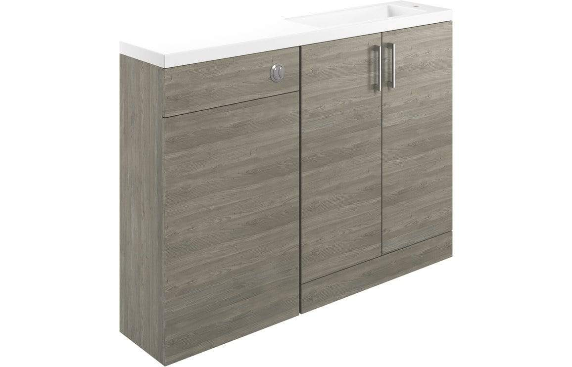 Bathrooms to Love Volta Grey Nordic Wood 1207mm Space Saving Vanity, Basin & WC Pack DIFTP1780