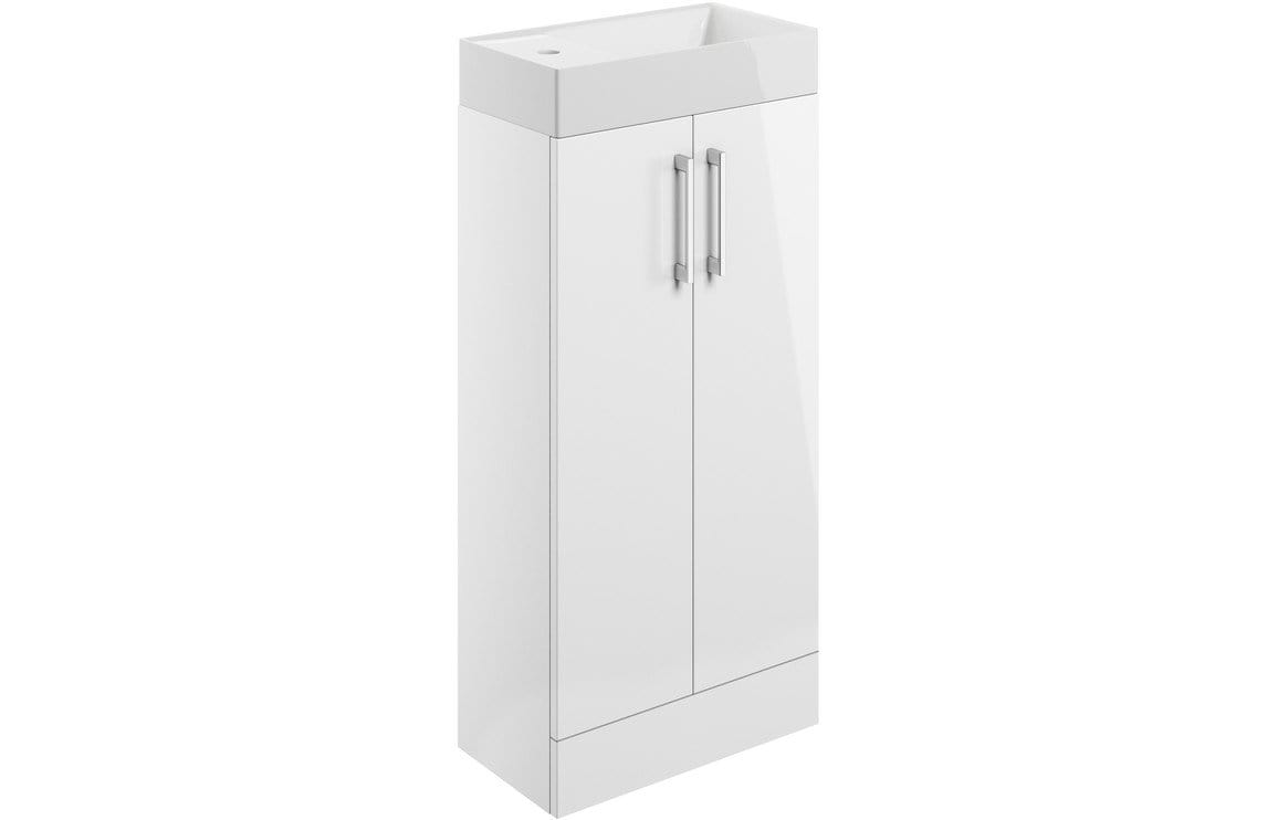 Bathrooms to Love Volta White Gloss 400mm Floor Standing Cloakroom Pack DIFTP1866