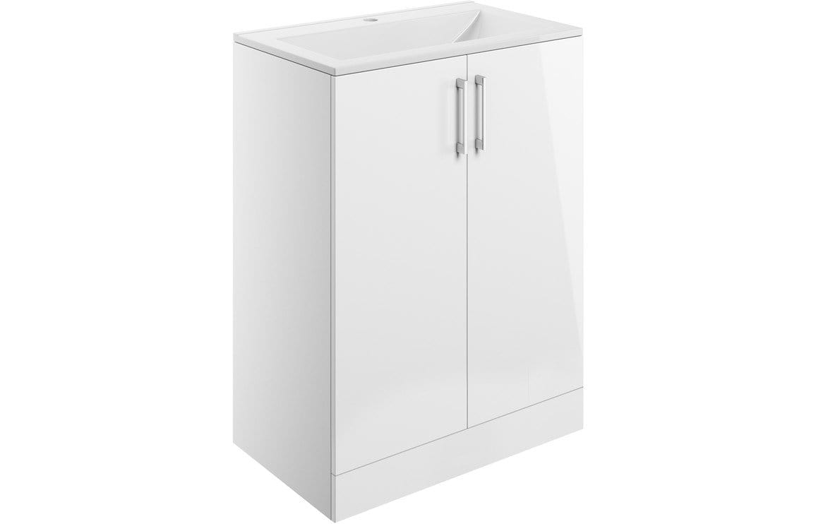 Bathrooms to Love Volta White Gloss 600mm Floor Standing Pack DIFTP1872