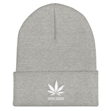 Kush Leaf Cuffed Beanie - White Embroidery