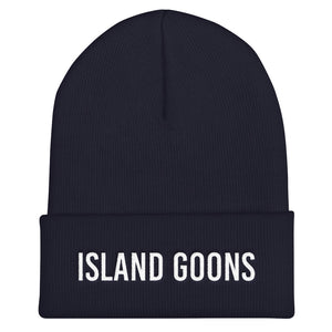 Island Goons Cuffed Beanie - White Embroidery