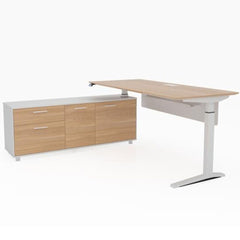 Potenza Executive Electric Adjustable Desk + Return