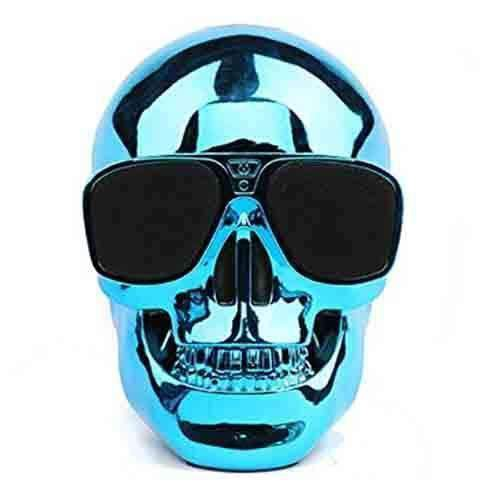 Skull Head Shape Portable Wireless Bluetooth Speaker - Blue Sim Free cheap