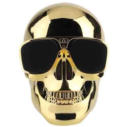 Skull Head Shape Portable Wireless Bluetooth Speaker - Gold Sim Free cheap