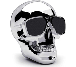 Skull Head Shape Portable Wireless Bluetooth Speaker - Silver Sim Free cheap
