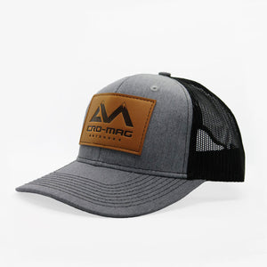 CRO-MAG leather patch hat heather grey and black