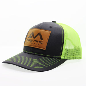 CRO-MAG leather patch hat grey steel and neon green