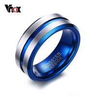 Thin Blue Line Tungsten Ring  8MM Tungsten Carbide Rings for Men