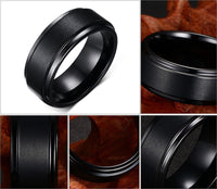 Mens Rings BASIC 8MM Band Black Pure Tungsten Carbide Ring for Men Matte Brushed Center Jewelry